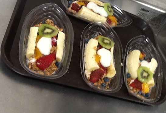 New for breakfast at Barberton Middle School. Made with low fat yogurt and fresh fruit... yummy!!